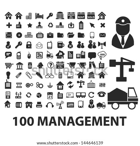 100 management, business, work icons set, vector - stock vector