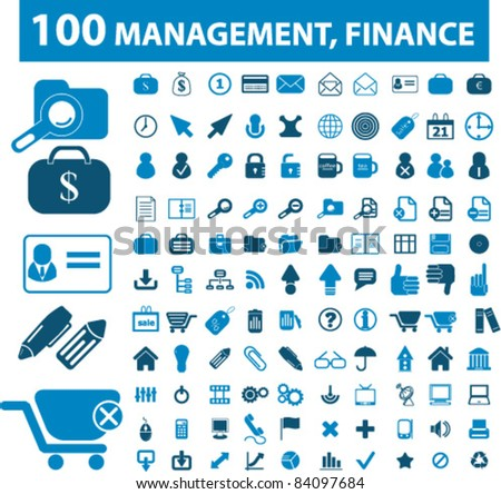 100 management, finance icons, signs, vector illustrations - stock vector