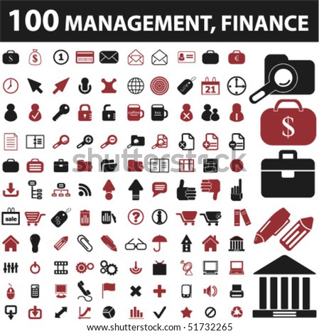 100 management, finance signs. vector - stock vector
