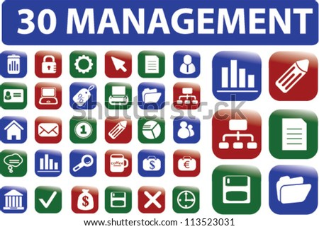 30 management icons set, vector - stock vector