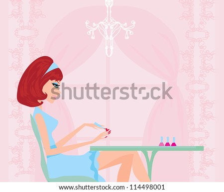 manicure lady - stock vector