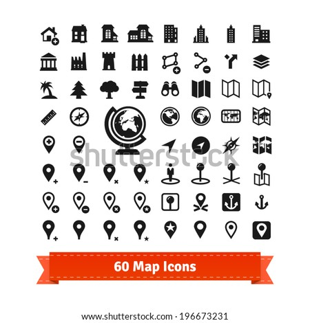 60 map icons set. For use in internet map services and map editing. Also contains buildings. EPS 10 vector set. - stock vector