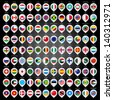 108 Map marker with flags. Vector illustration 10eps - stock photo