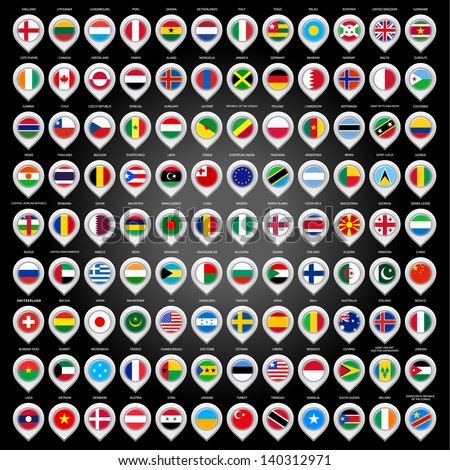 108 Map marker with flags. Vector illustration 10eps - stock vector