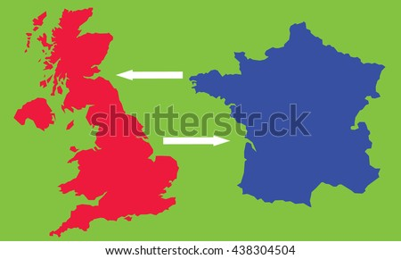 Map England France Stock Vector 438304504 - Shutterstock