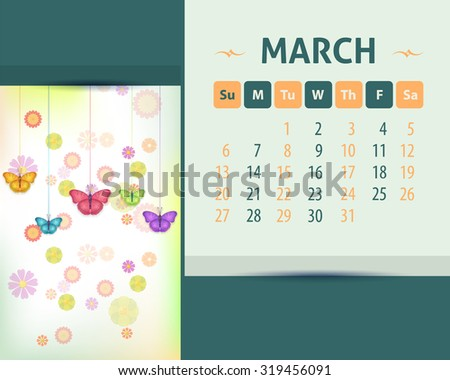 2016 March Calendar Design, Week Starts Sunday