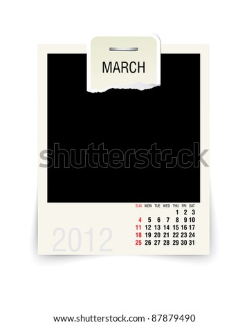 2012 march calendar with blank photo frame - stock vector
