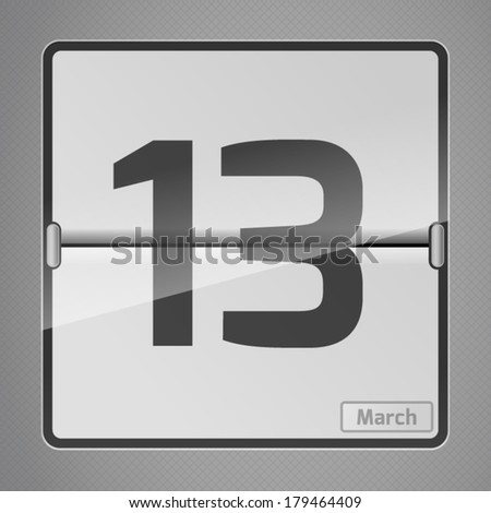 13 March counter calendar. Calendar Days Of Year Set 1