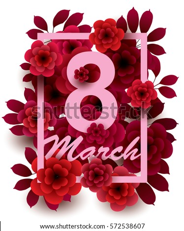 8 March Happy Womens Day Card Stock Vector 572538607