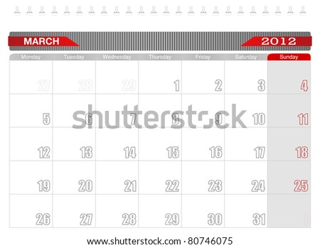 2012 March-Planning Calendar, Week starts on Monday. - stock vector