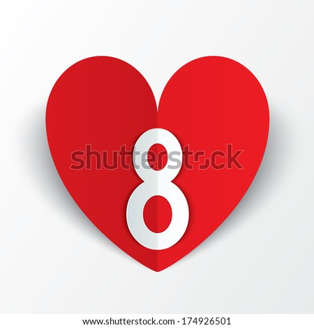 8 march red paper heart Women's Day card on white background. Cut from paper. Vector illustration - stock vector