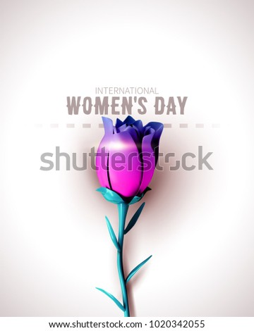 8 March sale flyer. International Women's Day. Happy Mother's Day. Flower on white background. Vector Illustration.