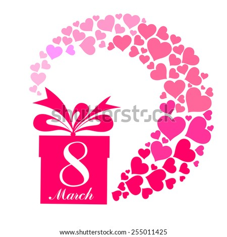 8 march. Women's Day card with gift box isolated on White background. Vector illustration  - stock vector