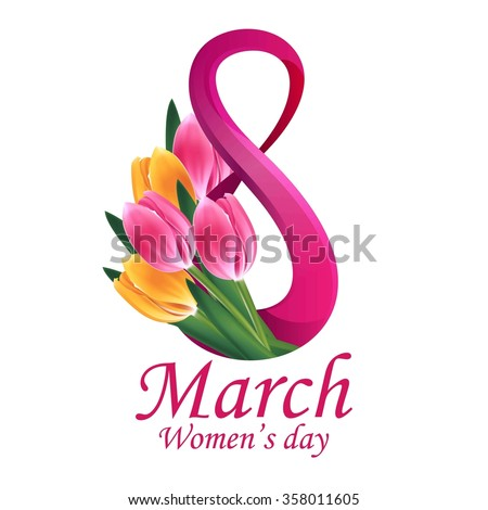 8 March Women's Day greeting card template