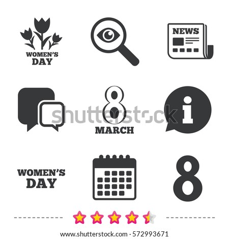 8 March Women's Day icons. Tulips or rose flowers bouquet sign symbols. Newspaper, information and calendar icons. Investigate magnifier, chat symbol. Vector