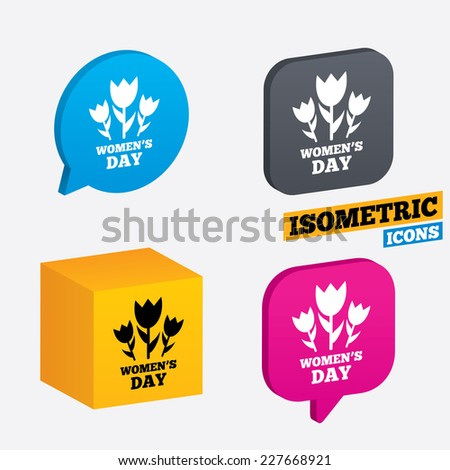 8 March Women's Day sign icon. Flowers symbol. Isometric speech bubbles and cube. Rotated icons with edges. Vector - stock vector