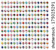192 Markers from paper with flag for map, vector illustration - stock