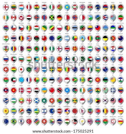 192 Markers from paper with flag for map, vector illustration