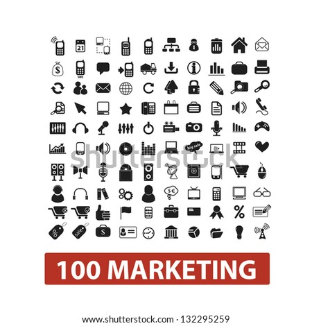 100 marketing icons set, vector - stock vector