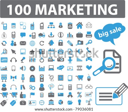 100 marketing icons, signs, vector - stock vector