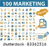 100 marketing icons, signs, vector illustrations - stock vector