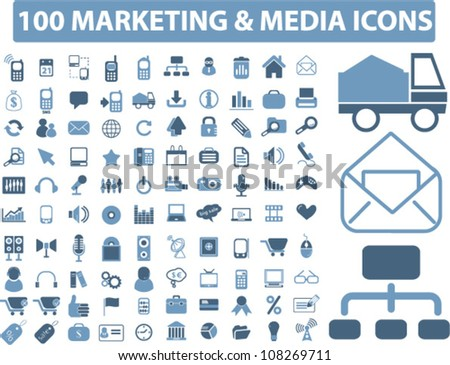 100 marketing & media icons set, vector - stock vector