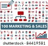 100 marketing & sales icons, vector - stock vector