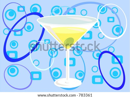 """Martini time!"" Illustration made with elements on different layers for convenience - stock vector"