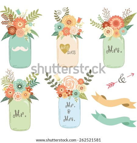 Mason Jar Wedding flower Collections - stock vector