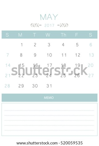 2017 Calendar April Stock Vector 482486533 - Shutterstock