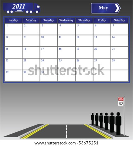 2011 May calendar with people queuing at a bus stop - stock vector