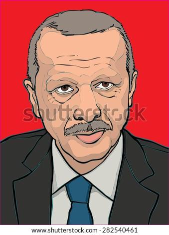 28 may 2015. hand drawn vector illustration of President Recep Tayyip Erdogan - stock vector