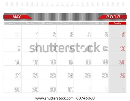 2012 May-Planning Calendar, Week starts on Monday. - stock vector