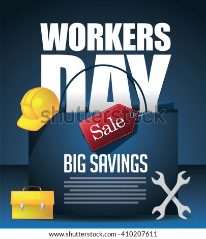 May 1st Labor Day Workers Day Sale background. EPS 10 Vector. - stock vector