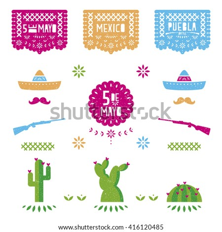 5 mayo mexican celebration set, Mexico banners, colors, cactus, decoration, background - stock vector