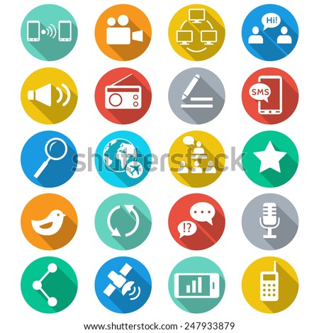 . Media and communication flat color icons. Web icons set 2. Vector - stock vector