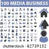 100 media business icons, signs, vector illustrations - stock vector
