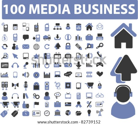 100 media business icons, signs, vector illustrations