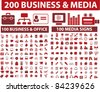 200 media & business icons, signs, vector illustrations set - stock vector