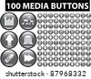 100 media buttons, icons, signs, vector - stock vector
