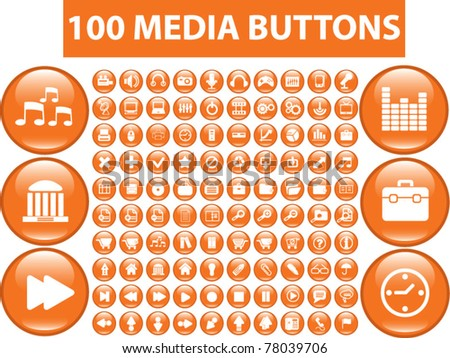100 media buttons, icons, signs, vector illustrations - stock vector