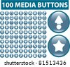 100 media buttons, icons, signs, vector set - stock vector