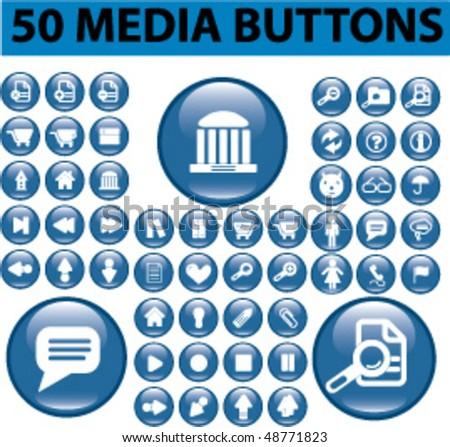 50 media buttons. vector - stock vector