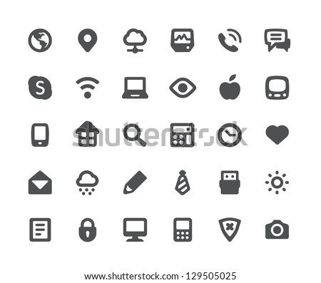 30 media communication minimalistic simple icons - stock vector