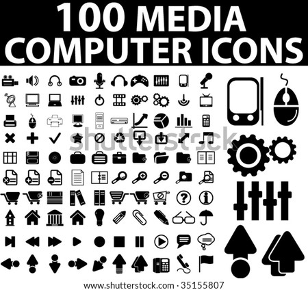 100 media & computer icons. vector - stock vector