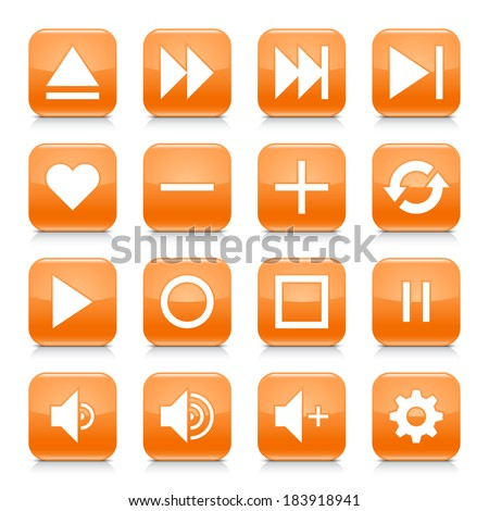 16 media control icon set 06. White sign on orange rounded square button with gray reflection, black shadow on white background. Glossy style. Vector illustration web design element in 8 eps - stock vector