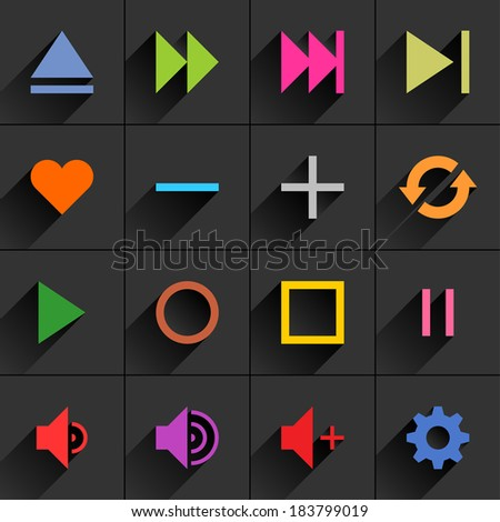16 media control sign flat icon with long shadow (set 06).  - stock vector