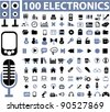 100 media & electronics icons, signs,, vector illustrations - stock vector