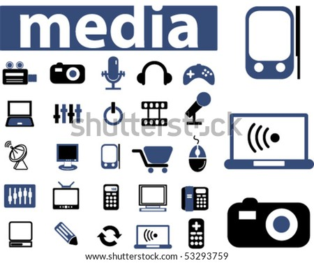 25 media & electronics signs. vector