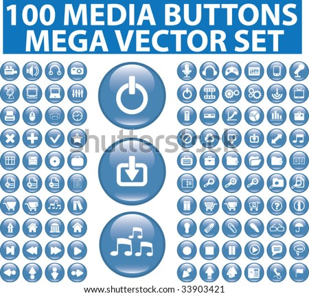 100 media glossy buttons. vector - stock vector